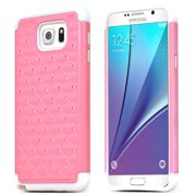 Samsung Galaxy Note 5 Case, [Standard Pink] Supreme Protection Hard Plastic Case w/ Kickstand on Silicone Skin