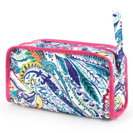 Travel Cosmetic Bag with Wrist Handle by Zodaca Women Pencil Case Makeup Storage Organizer Toiletry Zip Pouch - Paisley Times Square - Square Up Store
