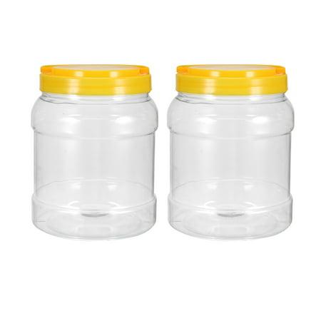 Empty Plastic Storage Jars, 1750ml PET Screw-on Lids Sealed Honey Container 2pcs