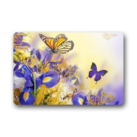 WinHome Green Floral Flying Butterfly And Irises Doormat Floor Mats Rugs Outdoors/Indoor Doormat Size 23.6x15.7 inches](Butterflies Flying)