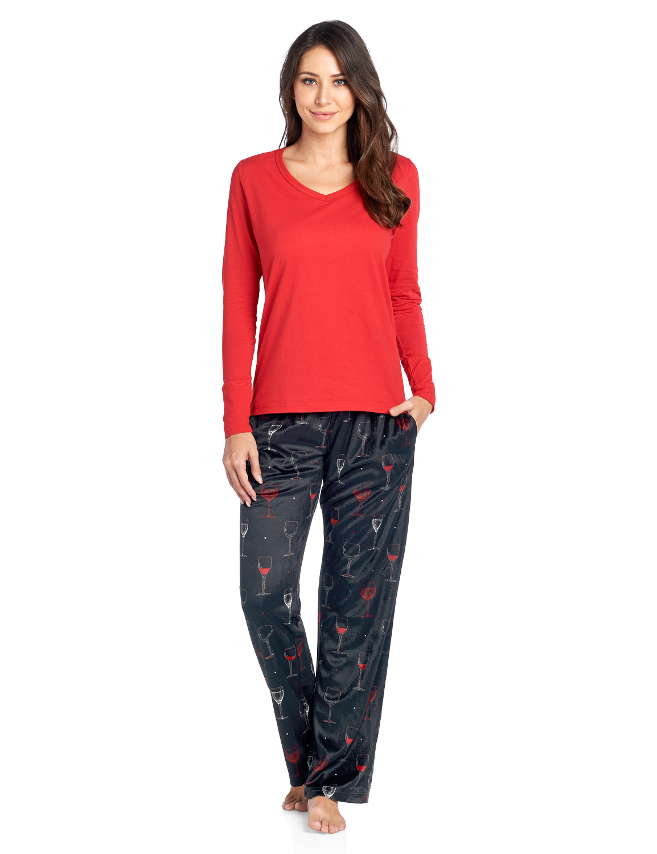 Ashford & Brooks Women's Long Sleeve Cotton Top with Mink Fleece Pants Pajama Set - Black Wine - 3X-Large