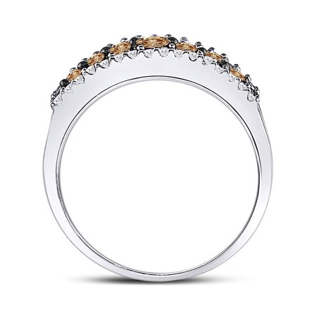 10kt White Gold Womens Round Cognac-brown Color Enhanced Diamond Triple Row Band Ring 1/2 Cttw - image 1 de 4