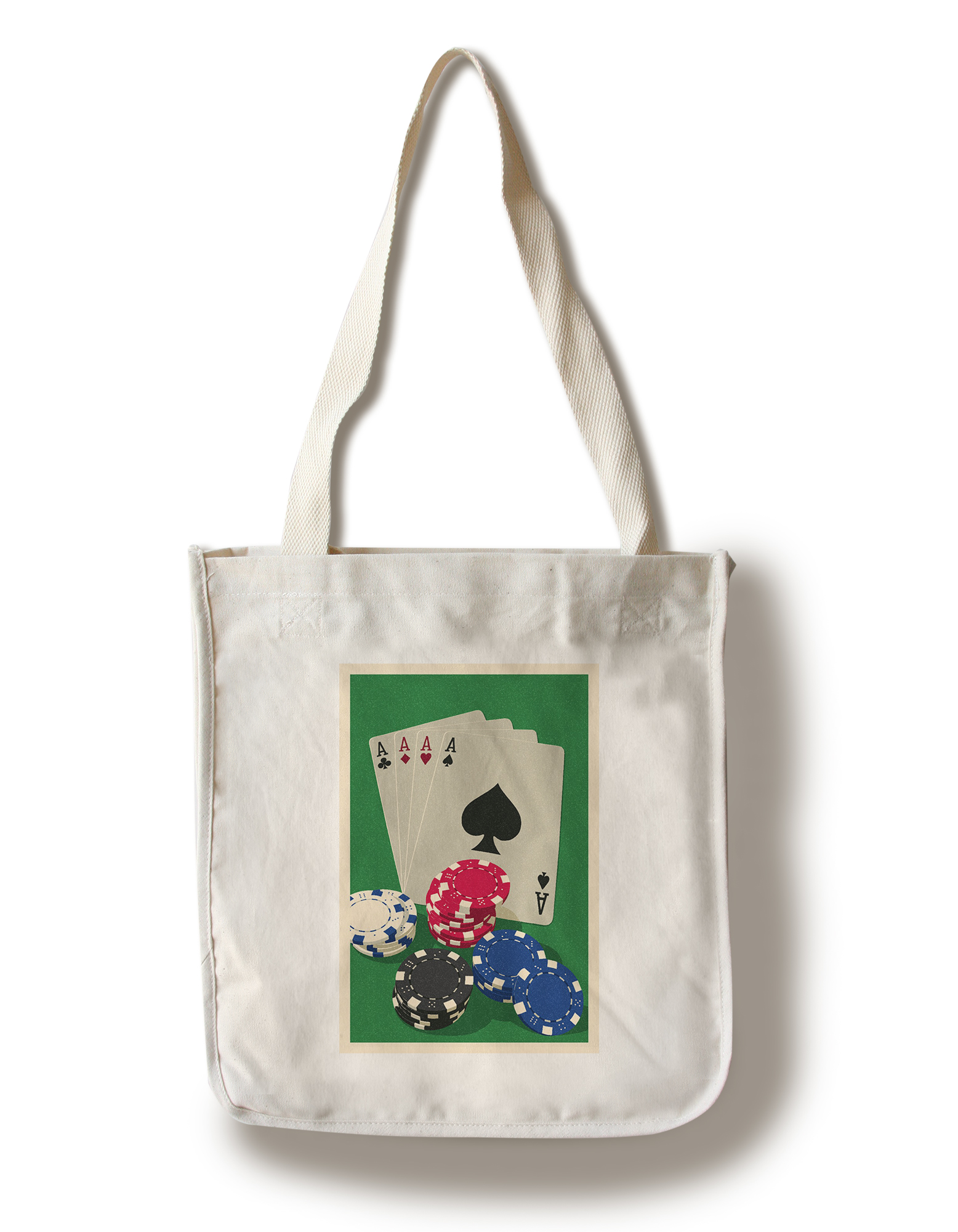 Poker Cards & Chips Letterpress Lantern Press Artwork (100% Cotton Tote Bag Reusable) by Lantern Press