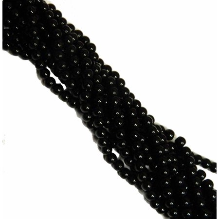 8mm Synthetic Black Onyx Round, Loose Beads, 40 cm 15 inch Gemstone