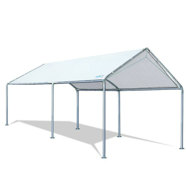 Quictent 10x20 Ft Upgraded Heavy Duty Carport Car Canopy Party Tent With Reinforced Steel Cables White Walmart Com Walmart Com