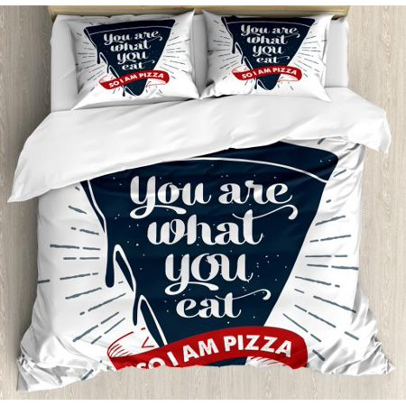 Funny Words Queen Size Duvet Cover Set, Grunge Pizza Slice with Retro Effect Humor Phrase about Fast Food, Decorative 3 Piece Bedding Set with 2 Pillow Shams, Dark Blue Red and Grey, by