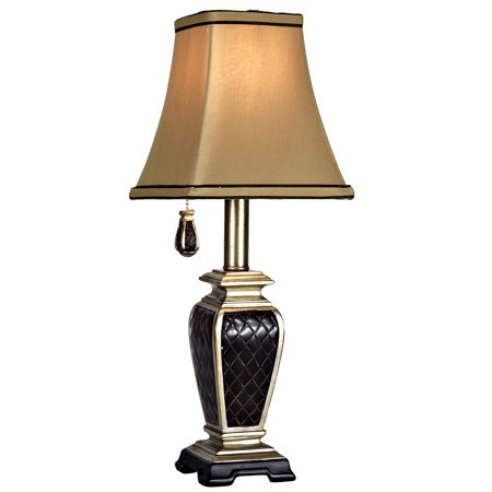 brompton accent table lamp black and gold finish gold fabric shade. Black Bedroom Furniture Sets. Home Design Ideas