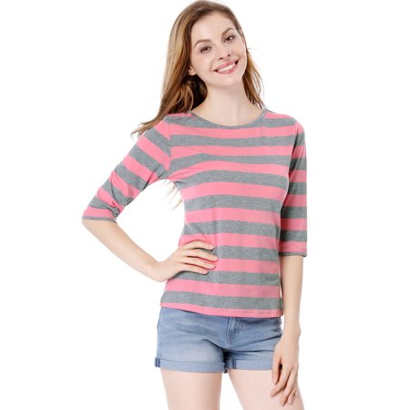 compare price on sale cheap price Women's Casual Round Neck Elbow Sleeve Contrast Striped Shirt Blouse Tops  Pink L (US 14)