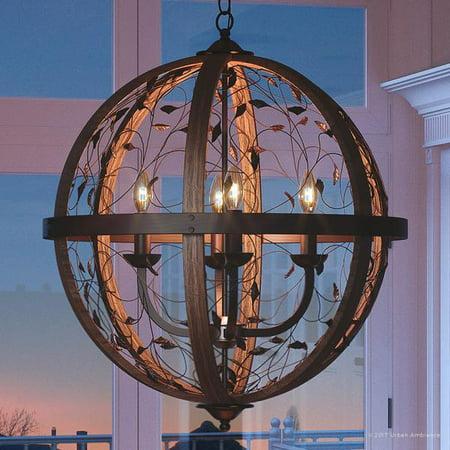 Midnight Wood Finish (Urban Ambiance Luxury Art Nouveau Chandelier, Medium Size: 29