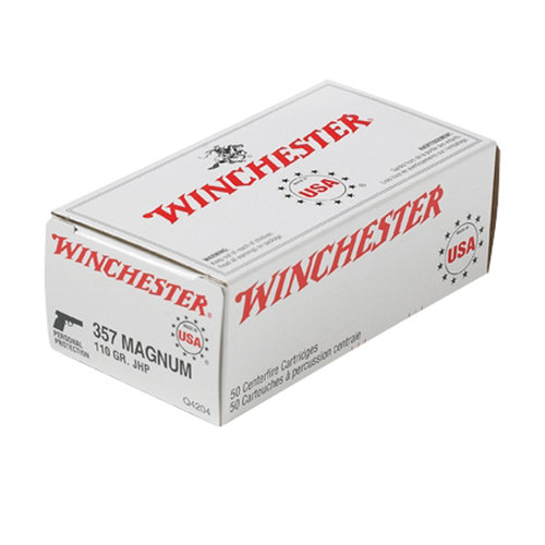 Winchester USA 357 Magnum Jacketed Hollow-Point, Box of 50