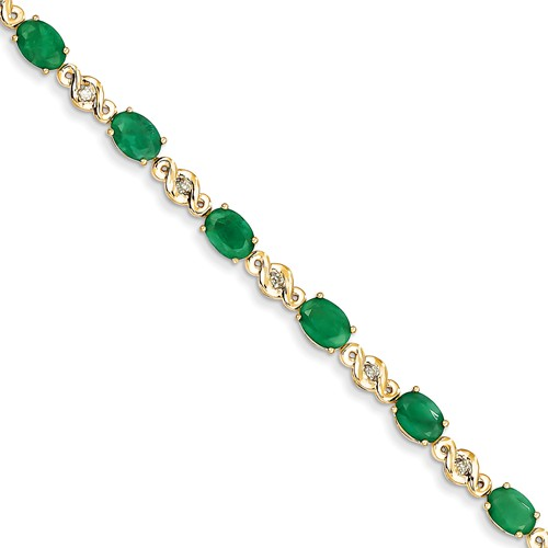14k Yellow Gold Diamond and Emerald Bracelet. Carat Wt- 0.1ct. Gem Wt- 7.45ct by Jewelrypot