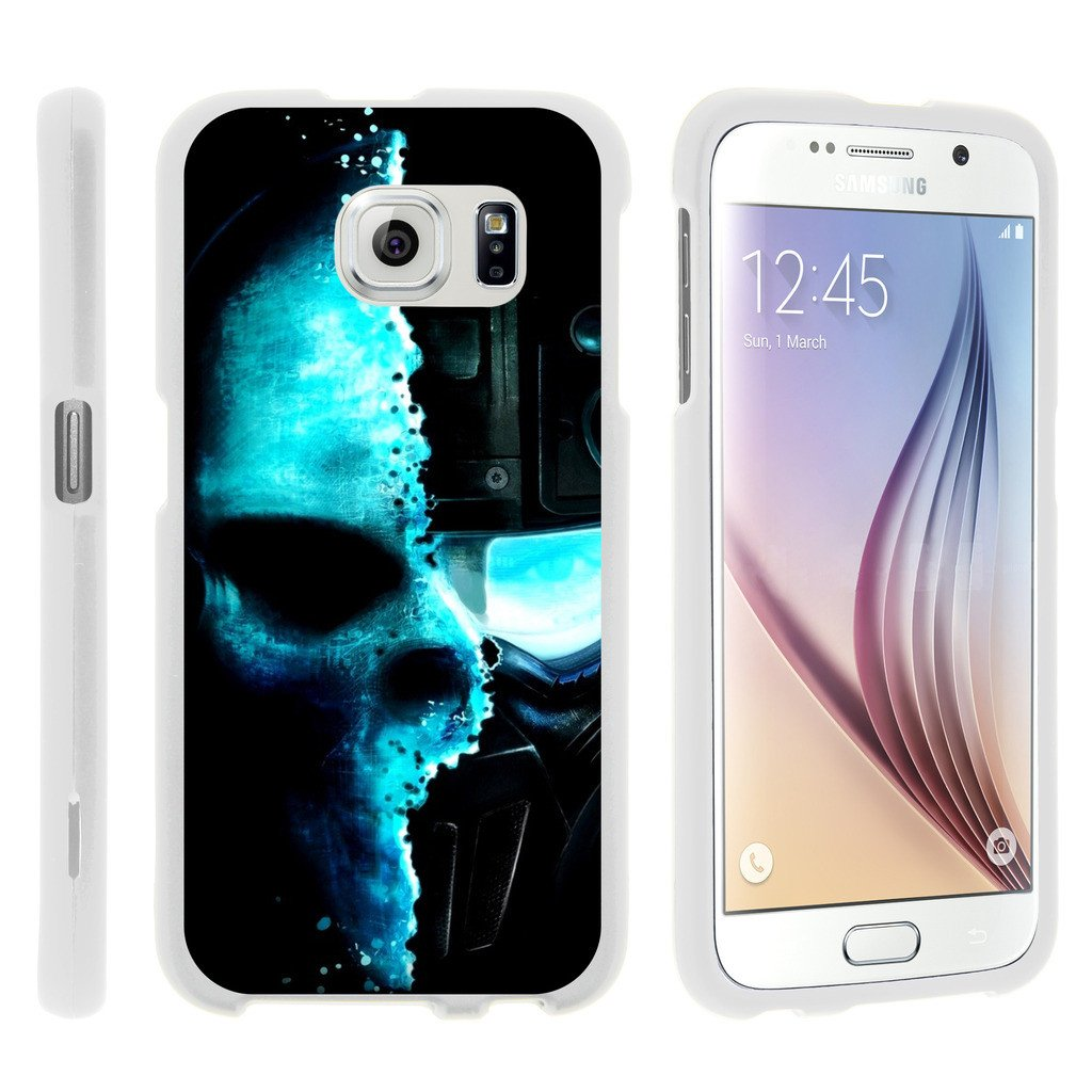 Samsung Galaxy S6 Edge G925, [SNAP SHELL][White] 1 Piece Snap On Rubberized Hard White Plastic Cell Phone Case with Exclusive Art - Baseball Blur