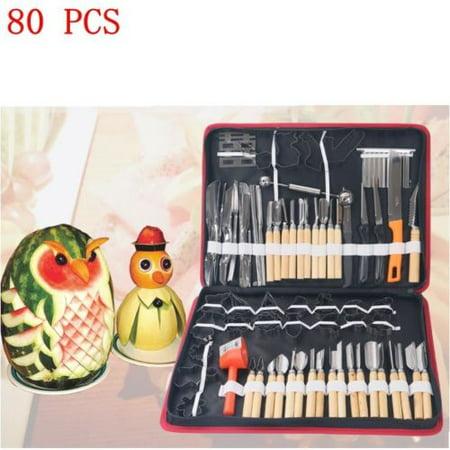 80pcs/set Vegetable Fruit Carving Chiseling Tool Kit For Kitchen & Dining (Halloween Fruit Carvings)