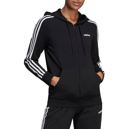 adidas Women's Essentials 3-Stripes Jersey Full Zip (Adidas Originals Zip Up Hoodie With Small Logo)