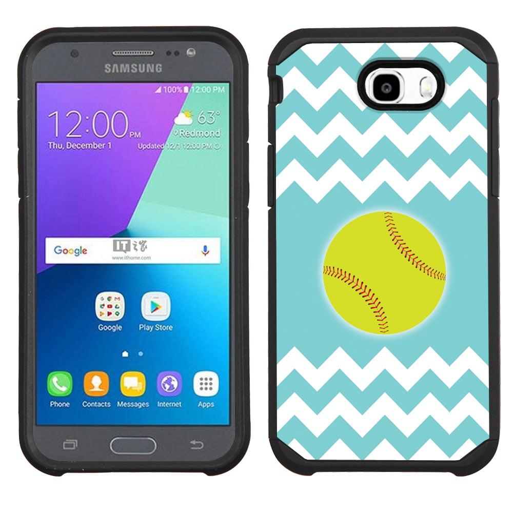 Hybrid Case for Samsung Galaxy J7 V / J7 Perx / J7 Sky Pro, OneToughShield ® Dual Layer Bumper Phone Case (Black) - Chevron/Teal/Softball