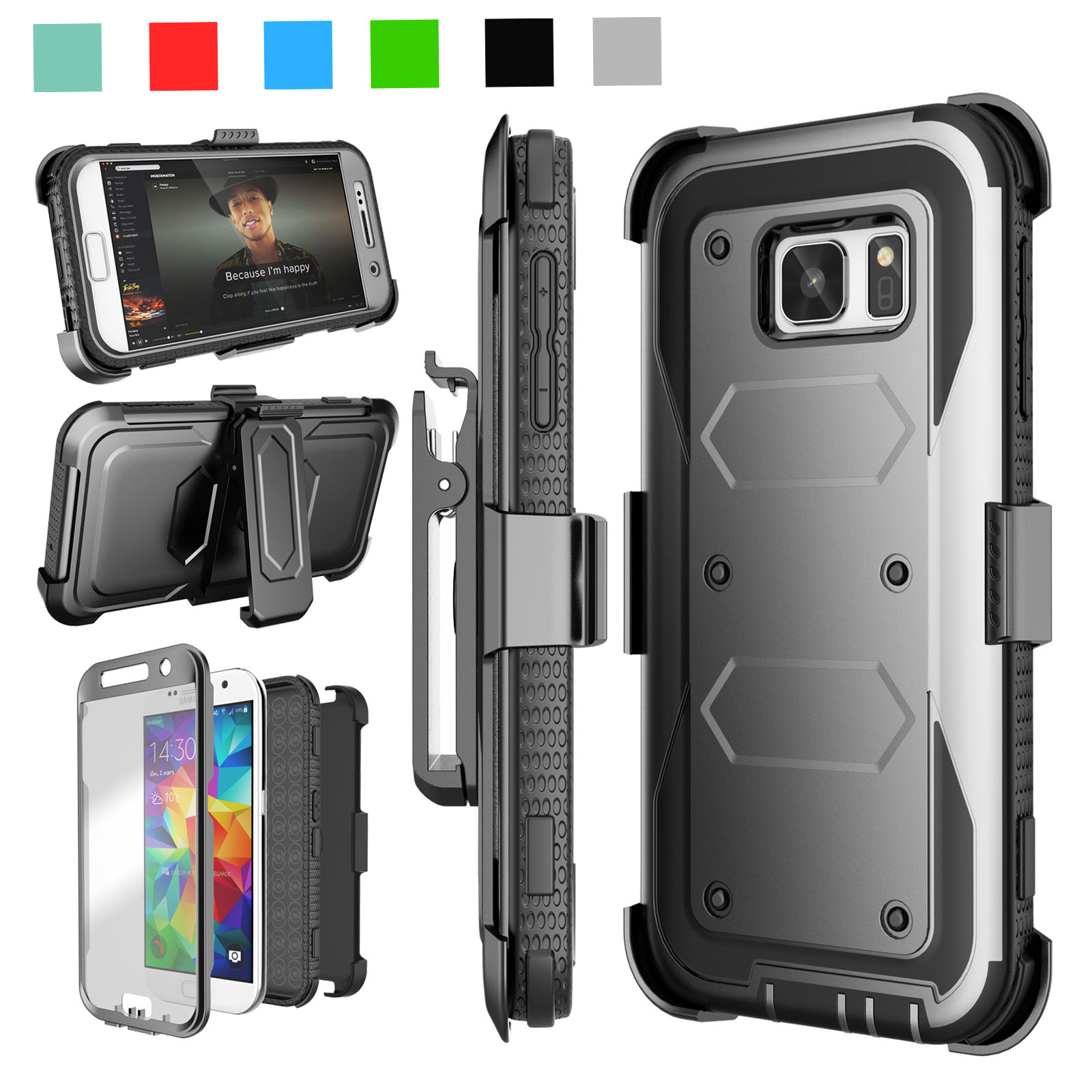 Galaxy S7 Case, [Built-in Screen Protector] Shock Absorbing Holster Locking Belt Clip Defender Heavy Case Cover For Samsung Galaxy S7 S VII G930 GS7 All Carriers Njjex [New Shell]