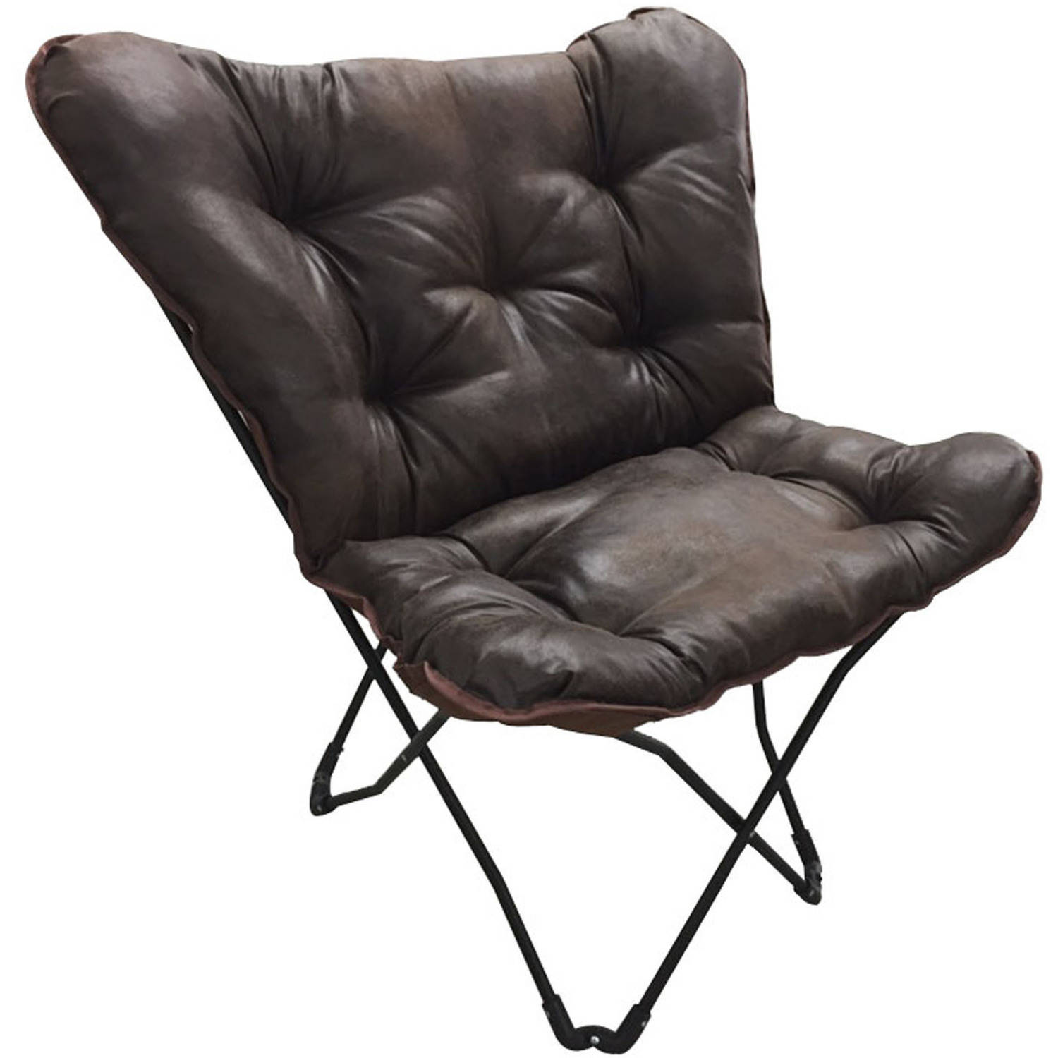 Superb Mainstays Soft Faux Leather Butterfly Chair   Brown