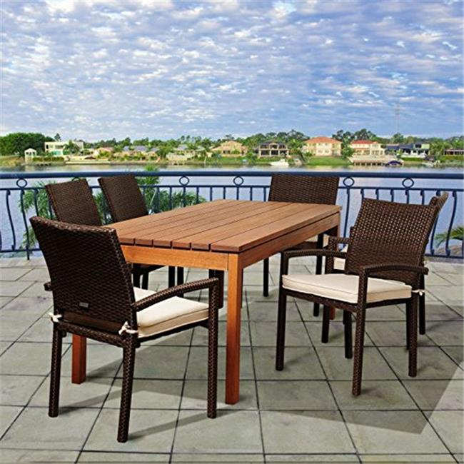 SC ATA-6LIBARM BR Maynard 7 Piece Eucalyptus & Wicker Rectangular Patio Dining Set with Off-White Cushions