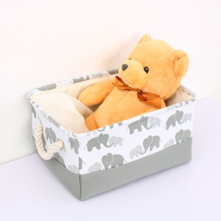 Storage Bin Basket Toy Organizer with Drawstring Grey Elephant Large