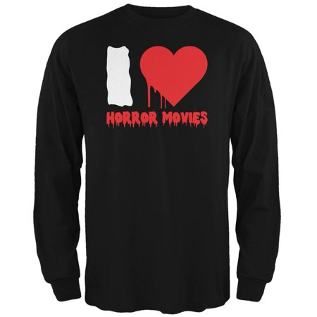 Halloween I Heart Horror Movies Black Adult Long Sleeve T-Shirt (Horror Movies Watch Halloween)