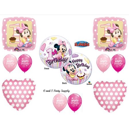 NEW!! Baby Minnie Mouse Birthday 1st First Party Balloons Decorations Supplies (Minnie Mouse Birthday Decorations)