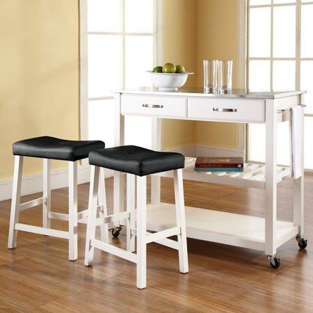Crosley 3 Piece Kitchen Island Set with Stainless Steel Top