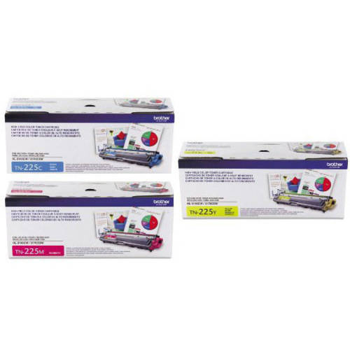 Genuine Brother TN225 Toner Cartridge, Brother TN225C, TN225M, TN225Y 3-Pack