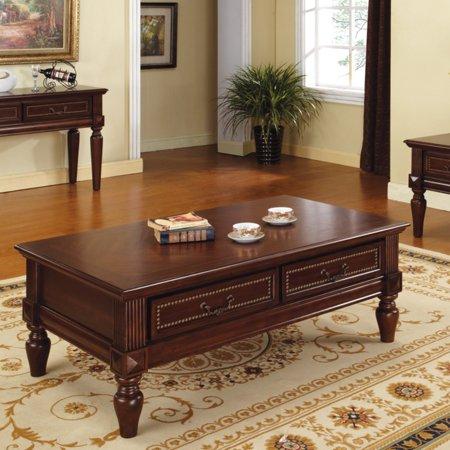 Steve silver davina rectangle cherry wood coffee table for Rectangular cherry coffee table
