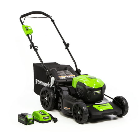 Greenworks 20-Inch 40V Push Mower 4Ah Battery and Quick Charger Included