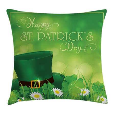 St. Patrick's Day Throw Pillow Cushion Cover, Happy Greetings for Cultural Day Religion Shamrock Daisy and Leprechaun Hat, Decorative Square Accent Pillow Case, 20 X 20 Inches, Green, by Ambesonne](Leprachaun Hat)