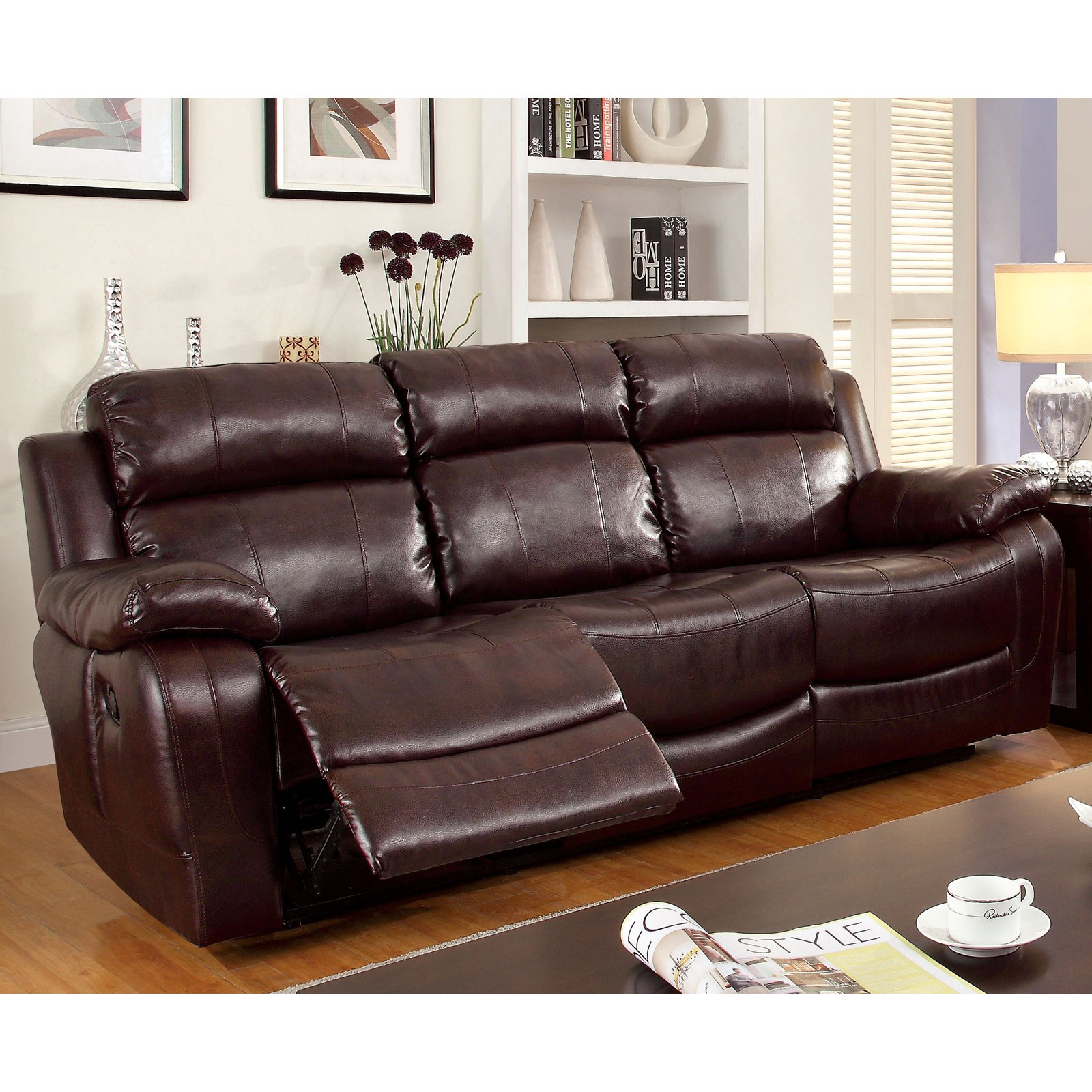Furniture of America Hartwig Recliner Sofa with Drop-Down Console