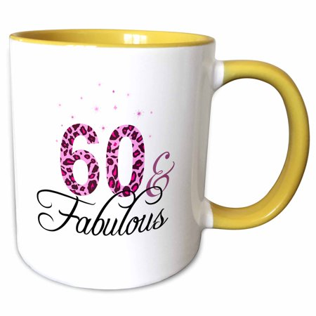 3dRose 60 and Fabulous - fun girly birthday gift - black and hot pink leopard print pattern bday diva text - Two Tone Yellow Mug, 11-ounce ()