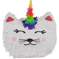 Cat Unicorn Party Pinata White 18.5in x 17.5in