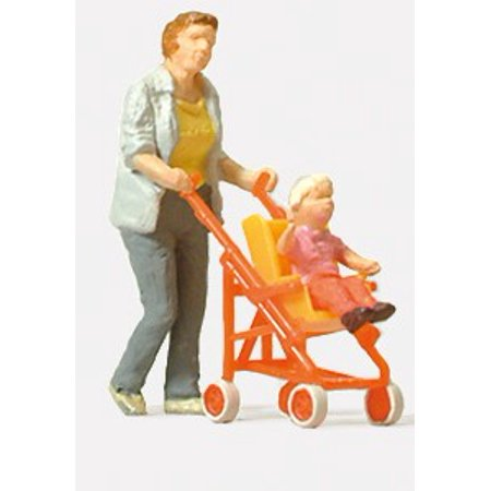 HO Woman Pushing Child in Stroller