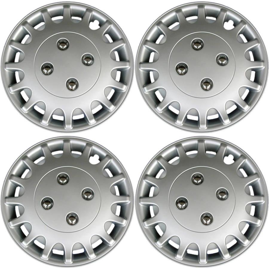 "4-Piece of 13"" Silver Hub Caps Full Lug Skin Rim Cover for OEM Steel Wheel"