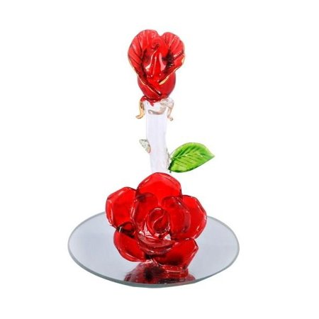 Spun Crystal Glass 2 Rosebud With Mirror Vase 3 Inch Giftsouvenir