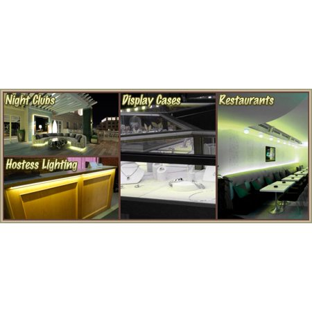 Biltek 6' ft Warm White Store Sign Retail Counter On/Off Switch LED Strip Lighting SMD3528 Wall Plug New - Storefront Windows Glass Displays DJ Bar/Night Clubs Restaurants Hotels Waterproof 110V-220V - image 2 de 5