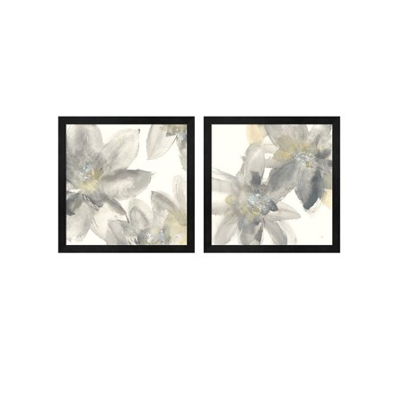 - Metaverse Chris Paschke 'Gray and Silver Flowers' Framed Art (Set of 2)