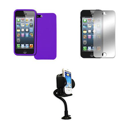 EMPIRE Apple iPhone SE / 5S / 5 Purple Case Textured Poly Skin + Adjustable Car Dashboard Mount + Mirror Screen Protector