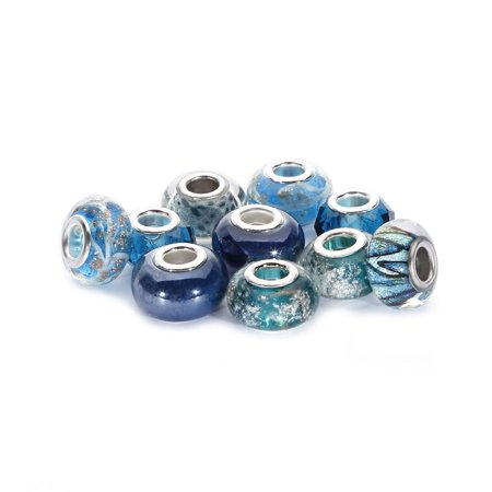 (BRCbeads 10Pcs Mix Silver Plate BLUE ZIRCON Lampwork European Glass Crystal Charms Beads)