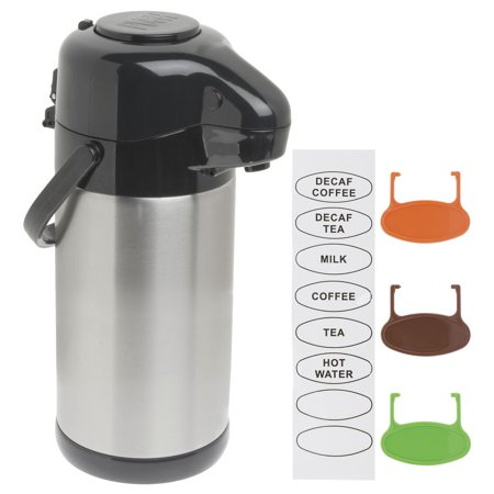 HUBERT Thermal Airpot Coffee Dispenser With Pump Lid, Stainless Steel 2.5 Liter