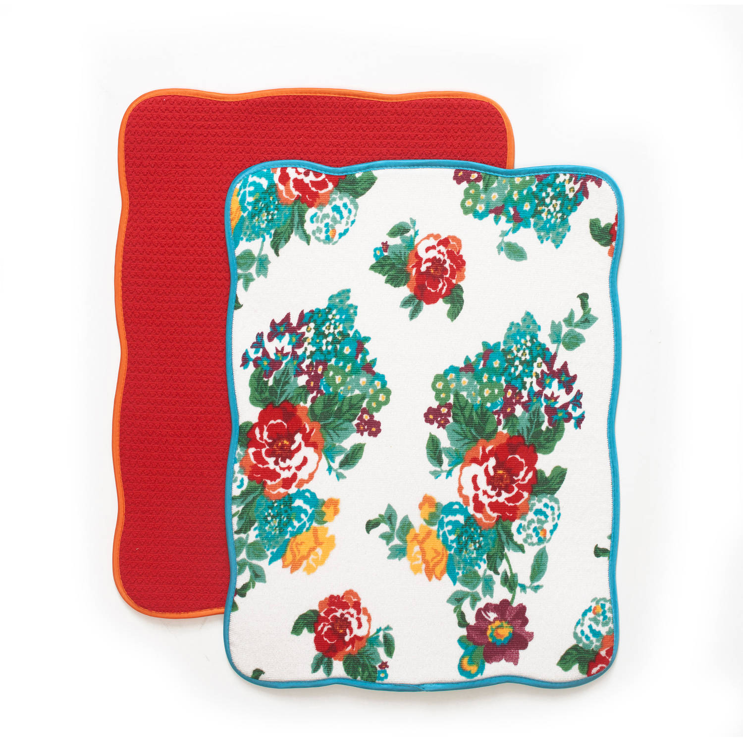 The Pioneer Woman Country Garden Reversible Dish Drying Mat, 2pk