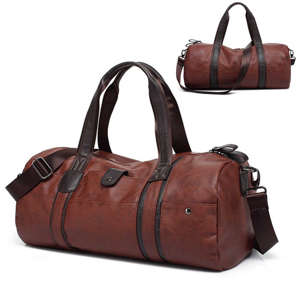Men Large Capacity Leather Luggage Travel Shoulder Bag Duffle Gym Tote Handbag by