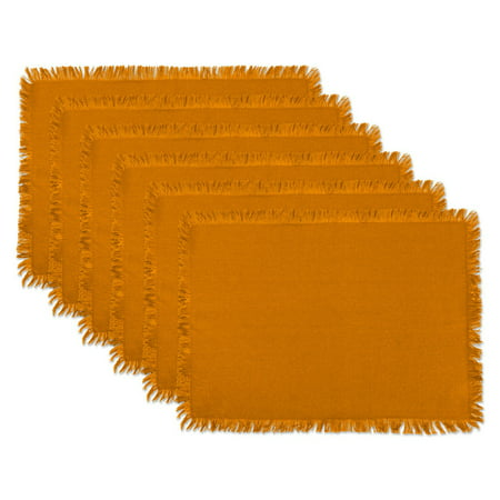 DII Solid Pumpkin Spice Heavyweight Fringed Placemat (Set of 6) ()