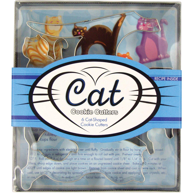 Foxrun Tinplated Steel 5 Piece Cat Cookie Cutter Set