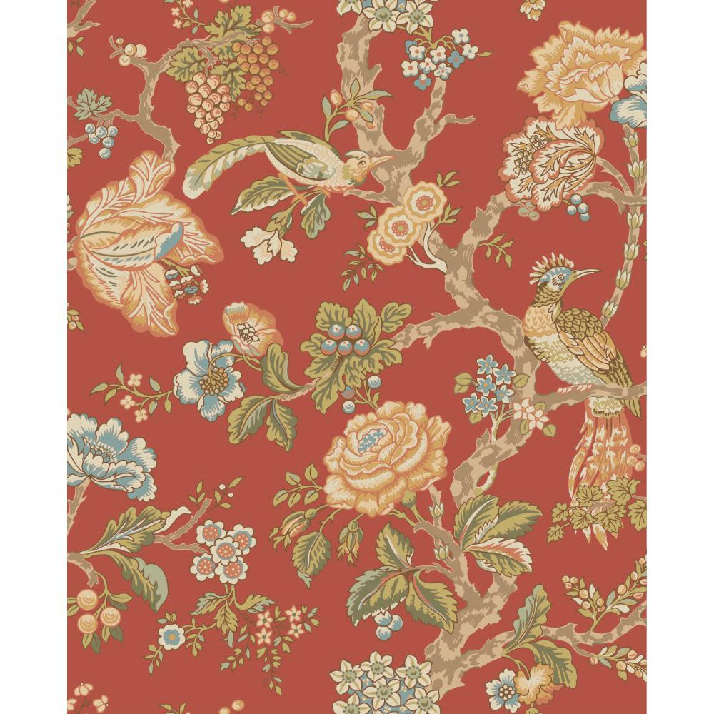 Waverly Classics Casa Blanca Rose Wallpaper, Tomato/Sky Blue/Beige/Olive/Blue Sky/Peach/Cocoa/Moss/Spruce/Yellow-Green
