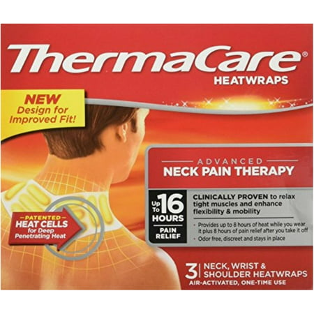 4 Pack - ThermaCare Heatwraps Neck, Shoulder & Wrist 3 Each