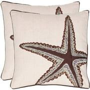 """Safavieh Lucky Star 18"""" x 18"""" Ecru Pillow, Set of 2"""