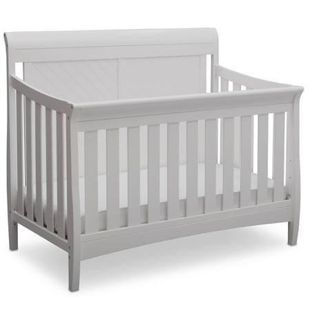 Delta Children Bennington Elite Sleigh 4-in-1 Convertible Crib, Bianca White