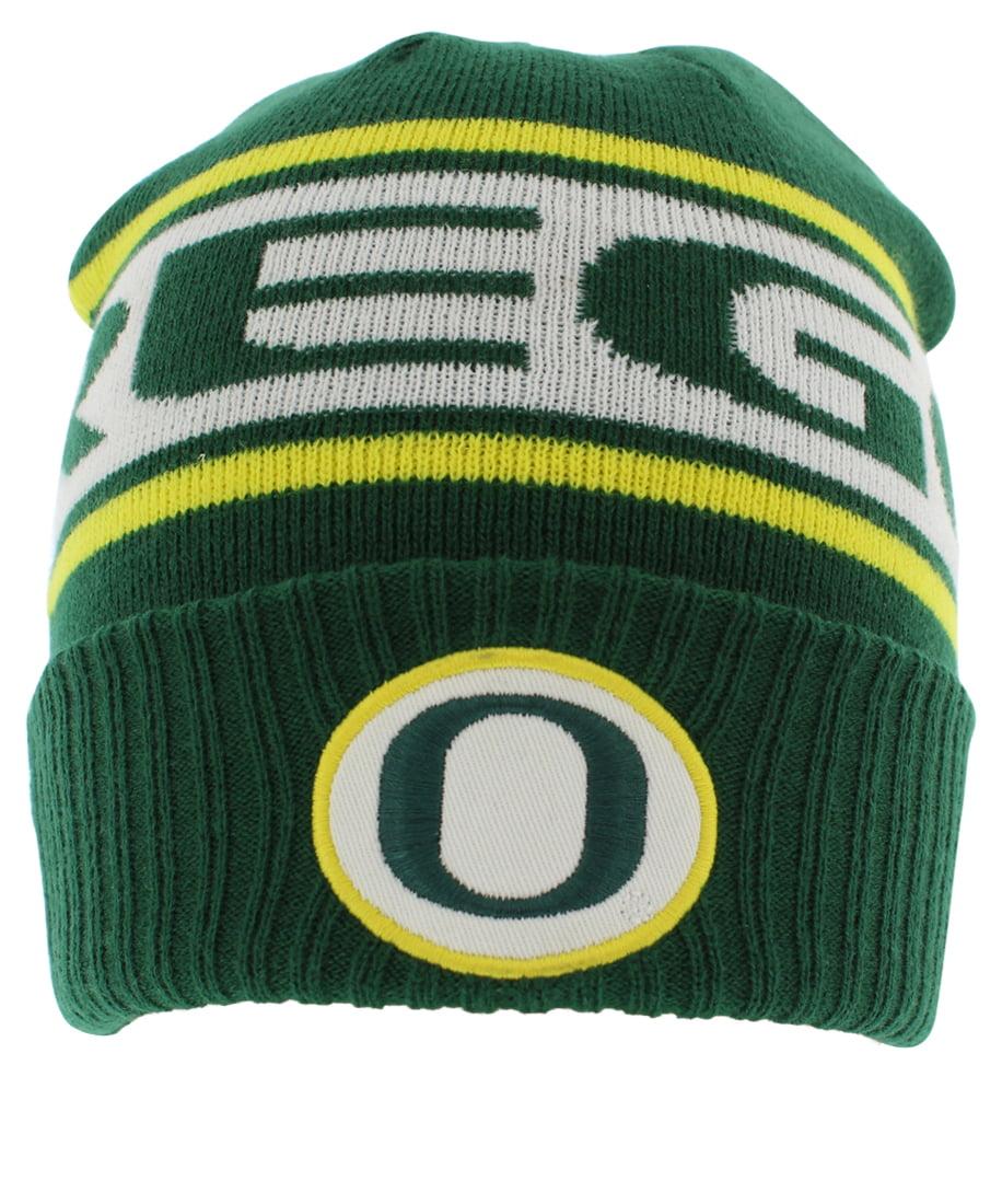Nike Mens Oregon Ducks Sideline Knit Beanie Hat Green One Size by